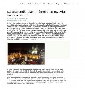 Tisk – Na Staroměstském náměstí se rozsvítil vánoční