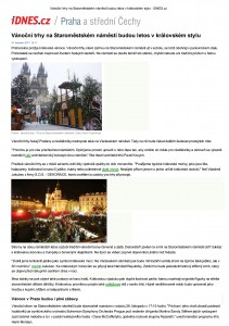 Tisk – Vánoční trhy na Staroměstském náměstí budou let